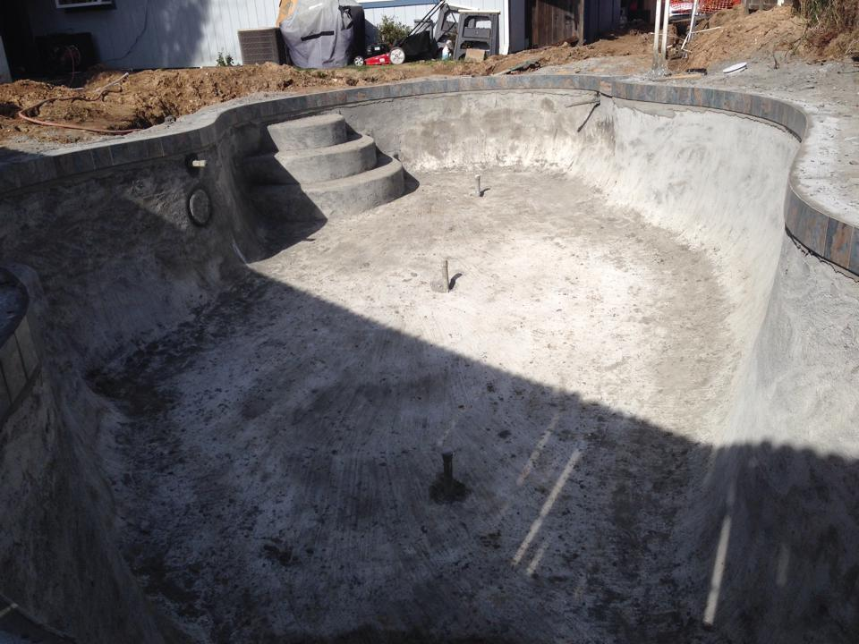 Phases of building a pool in the Folsom CA area